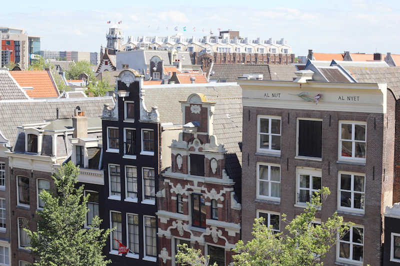 View of Dutch canal houses from Oude Kerk Amsterdam