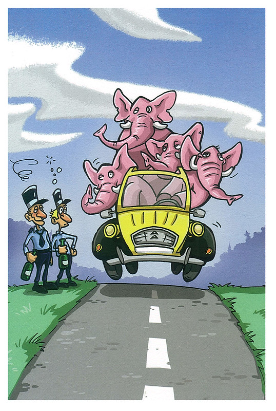 France - humor - pink elephants