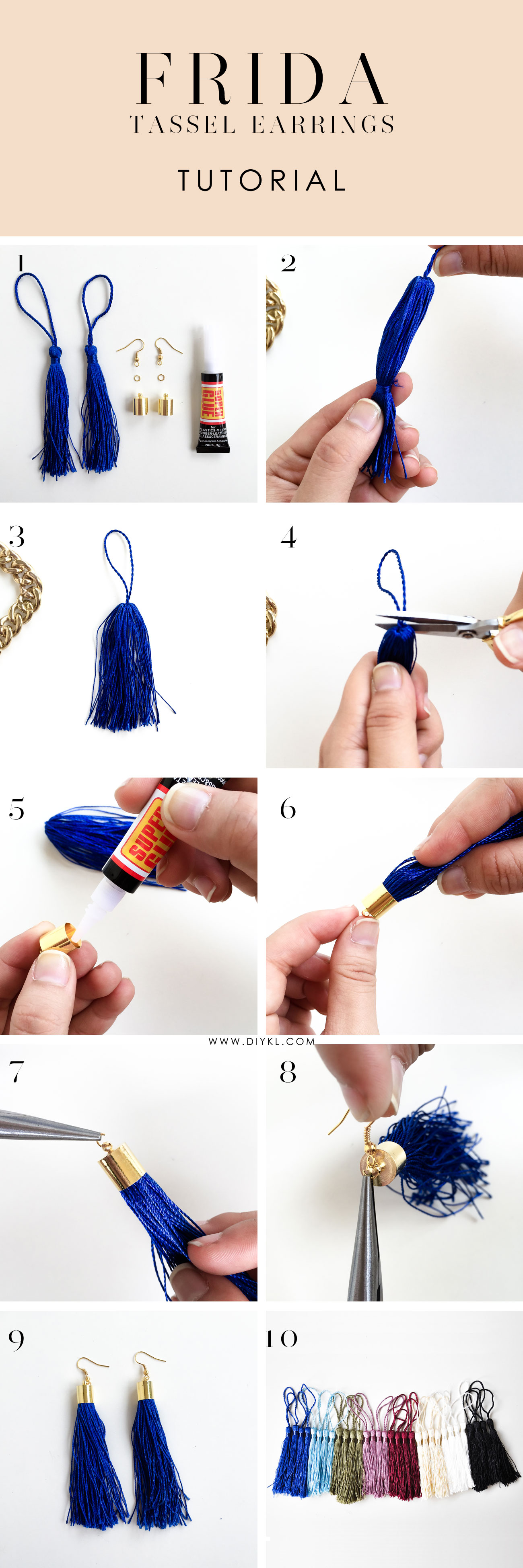 diykl FRIDA Tassel Earrings Tutorial