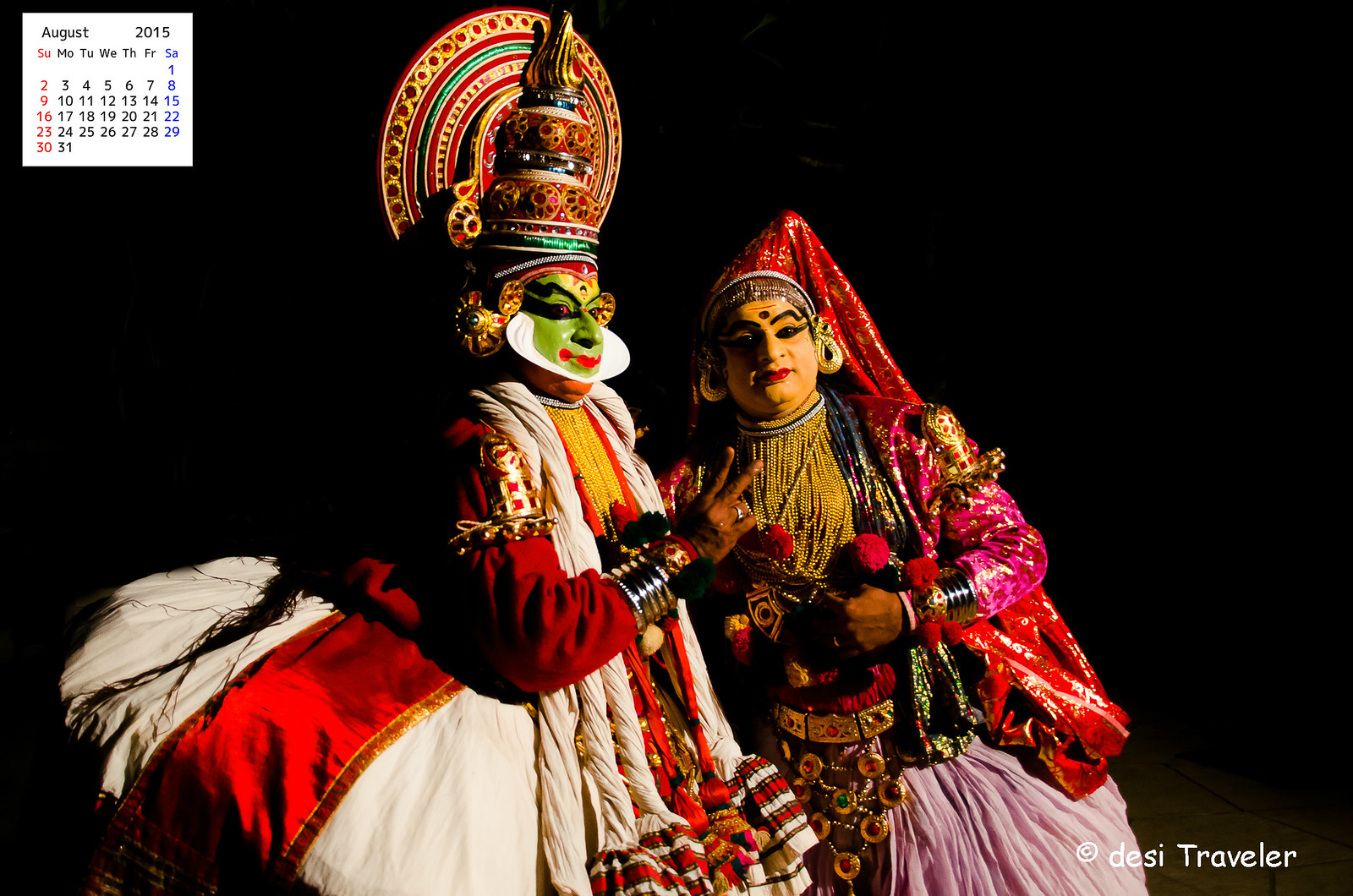 Kathakali Dancers on Calendar Wallpaper