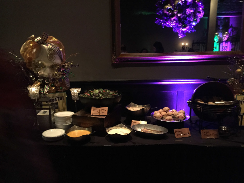 Buffet food at Bourbon Vieux's Bourbon Street Balcony Party