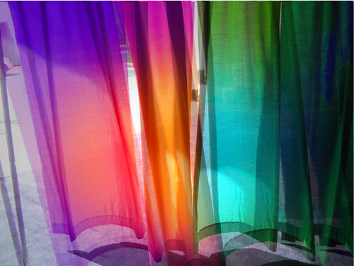 moving colored curtains