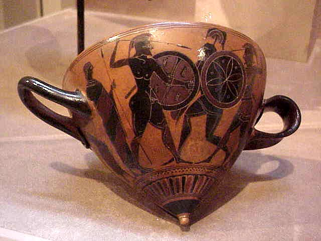 Black-figured Mastos cup with combat scene Greek 530 BCE