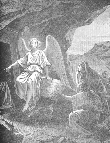 An Angel appears to the women at the tomb, saying that Jesus is alive