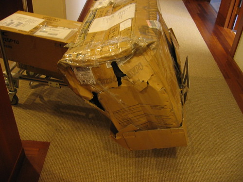 """small attic pictures - Broken Box This box was """"handled"""" by FedEx"""