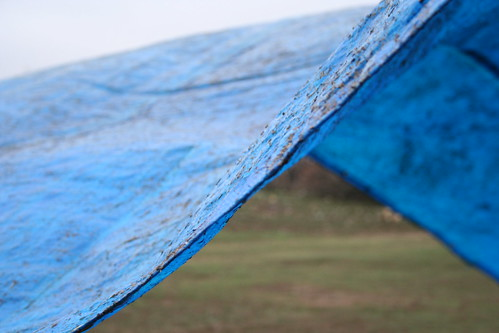 Flying blue tarp