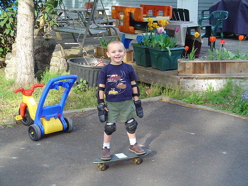 Travis on his Skateboard