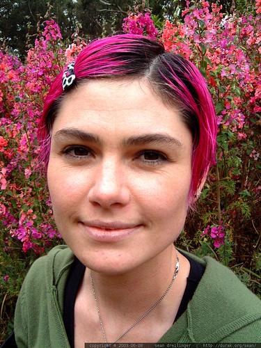 pink hair posing in the pink flowers   dscf5251