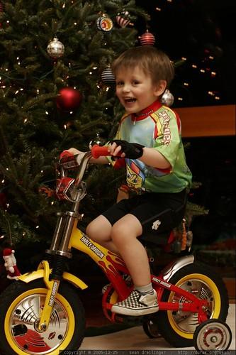 racing around the xmas tree in spongebob cyclist attire