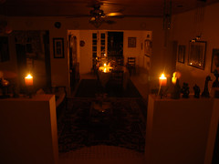 A House lit by candles