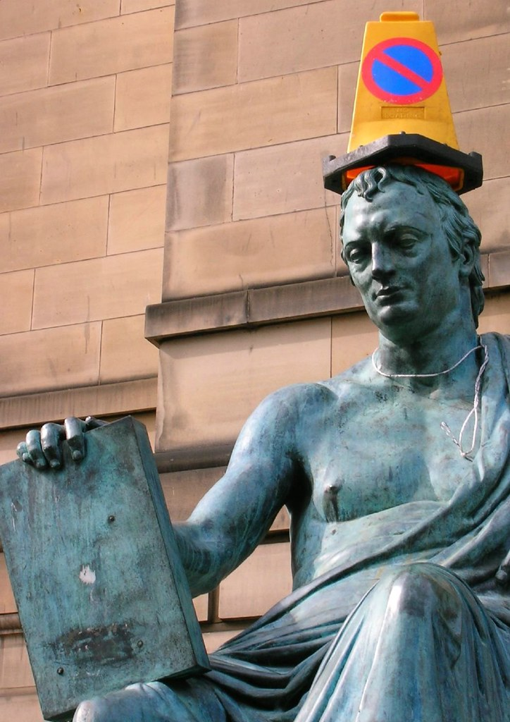 David Hume with traffic cone on head