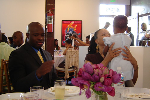 The reception was held in an art gallery