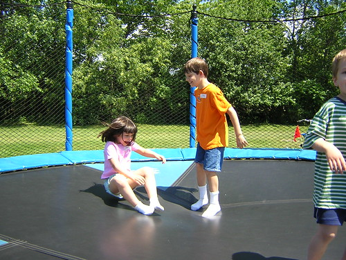 All kids seem to enjoy playing on trampolines.