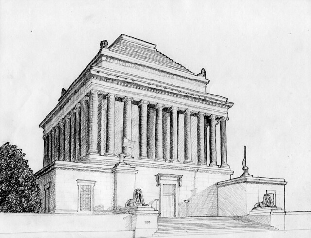 Scottish rite masonic temple in dc a two point exterior for Exterior 2 point perspective