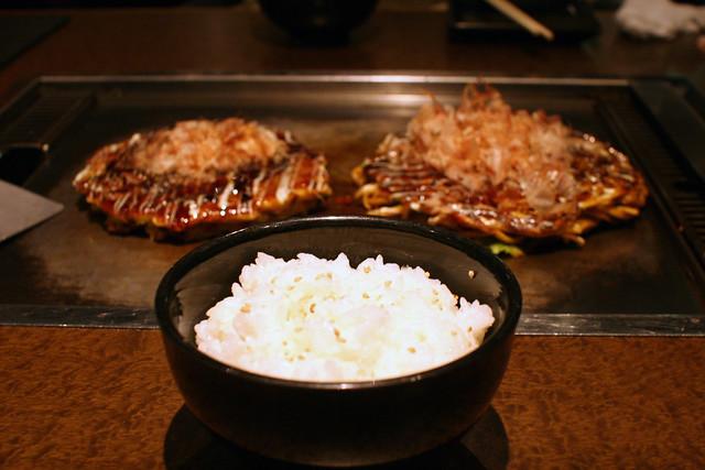Rice and Okonomiyaki and Modernyaki