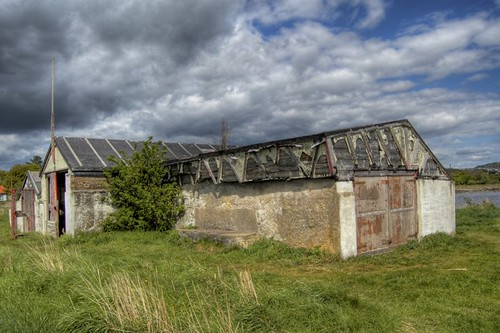 Storm Clouds over Disused Boat Shed - HDR