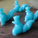 turquoise squirrels by little lamps*glass bead