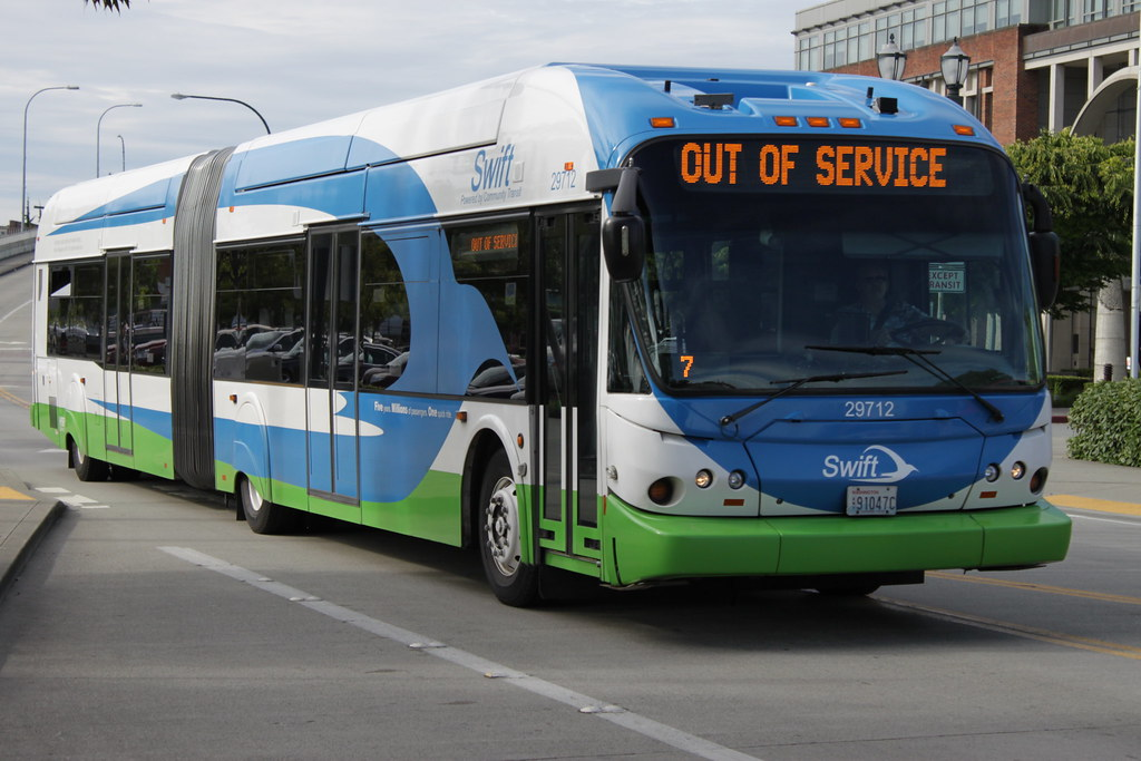 An out-of-service Swift bus headed towards Everett Station