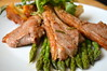 Grilled Lamb Cutlets, New Asparagus, Stuffed Baked Potato