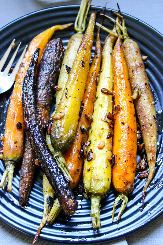 Roasted Rainbow Carrots with Honey, Cilantro & Sunflower Seeds
