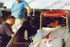 Mike Ordway waits patiently in his Clyde Booth supermodified at Oswego Speedway Mr. Supermodified race