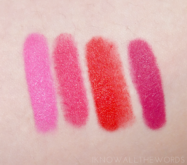 maybelline colour blur 05 pink insanity, 10 fast & fuchsia, 20 orange ya glad, 40 my-my magenta  (6)