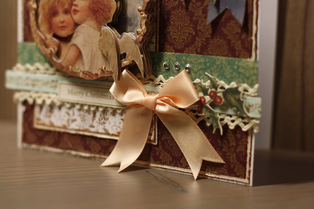 Victorian Christmas card Botanicals bow