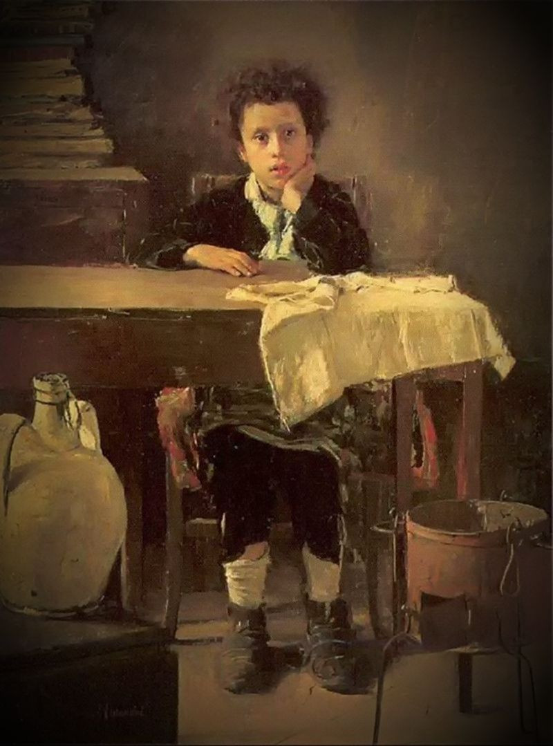 The Poor Schoolboy by Antonio Mancini