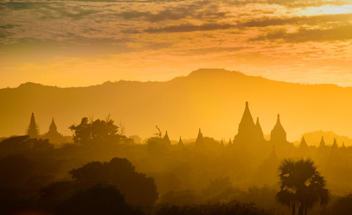 Sunset in Bagan temples, Myanmar