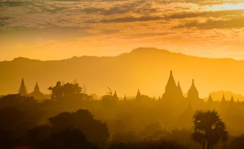 Sunset in Bagan temples, Myanmar