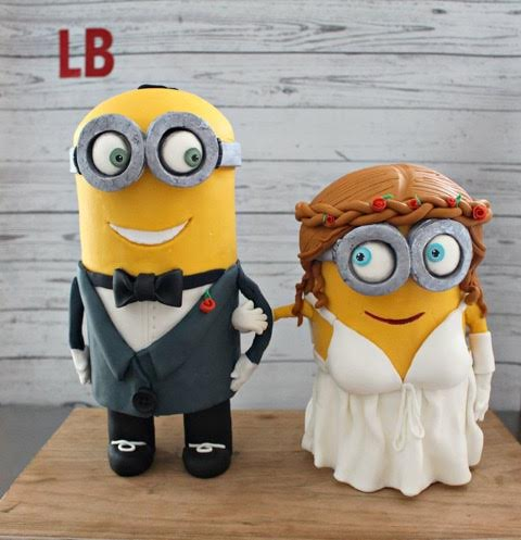 Minions Wedding Cake by Nicole Davies of Lipstick Baker Custom Cakes