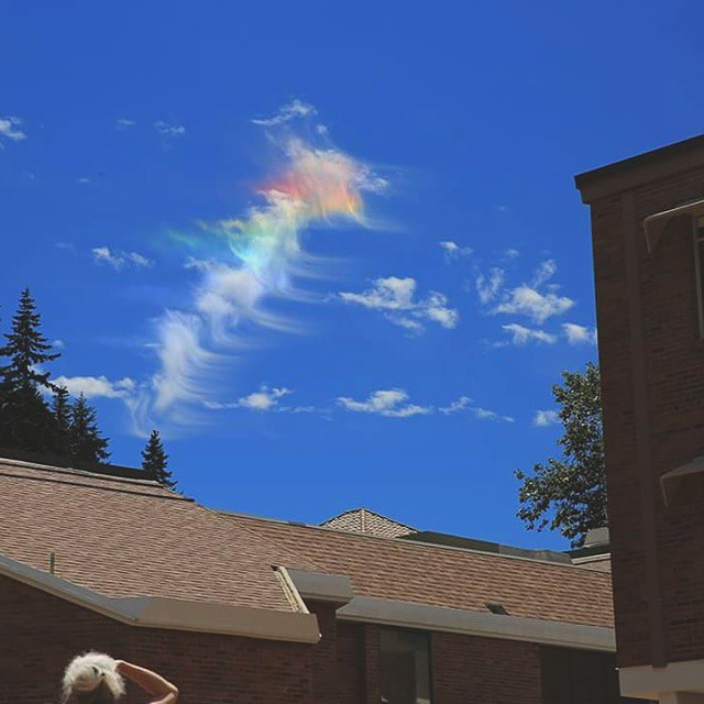 Beautiful iridescent cloud captured over our Bellingham campus this afternoon.   Apparently, these somewhat rare appearances are caused by small water droplets or ice crystals in thin clouds individually scattering the sunlight.