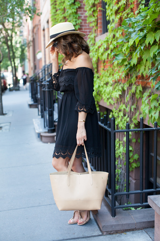 black off the shoulder dress summer dress weekend look nude sandals jcrew hat handbag professional blogger fashion blogger how to wear hats in the summer summer look beach casual