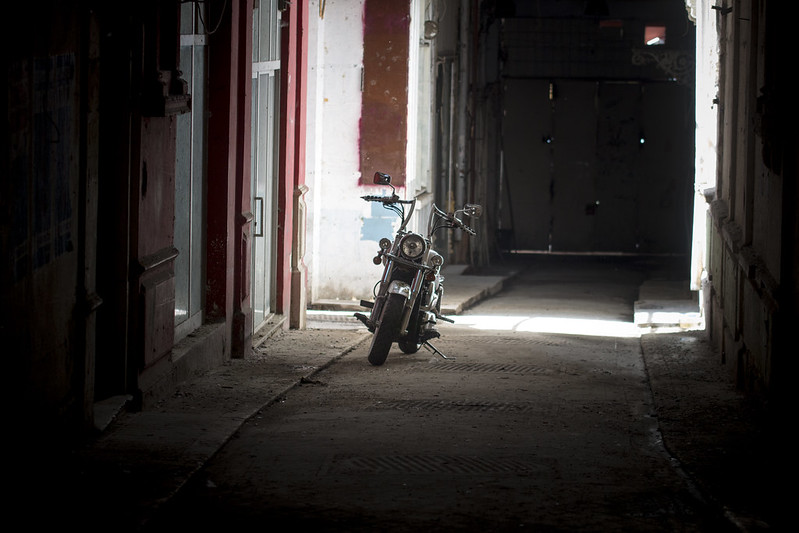Motorcycle in the dark - Istanbul, Turkey