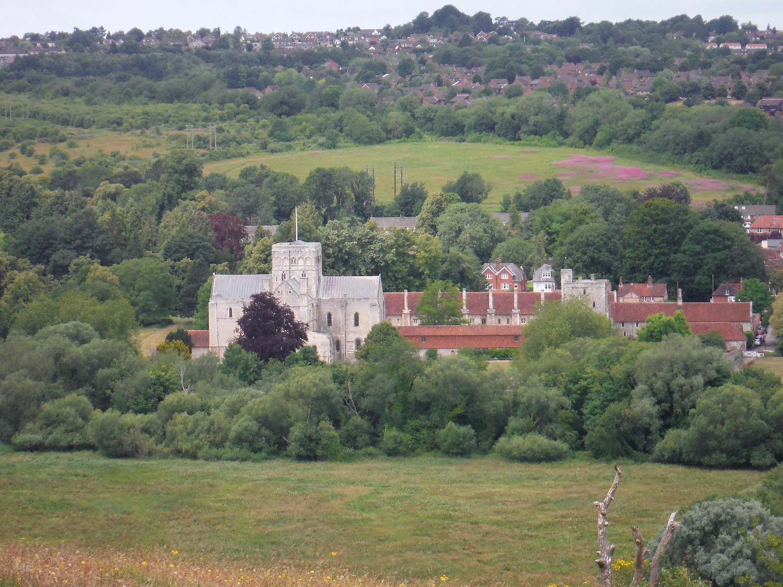 St. Cross Hospital & Church from St. Catherine's Hill SWC Walk 15 : Winchester Circular