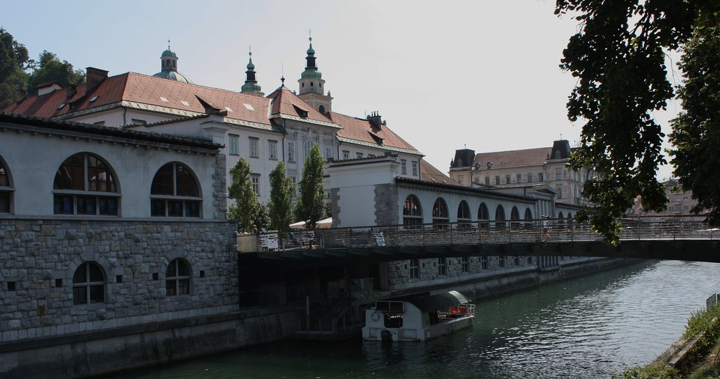 Boat under Bridge Ljubljana Slovenia II