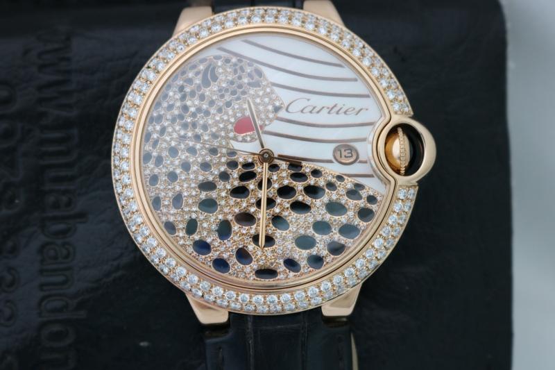 Bán đồng hồ Cartier Ballon Bleu – Vàng hồng 18k – Mặt con báohạt xoàn – Size 42mm