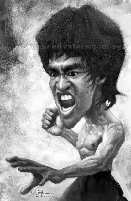 Digital caricature painting of Bruce Lee