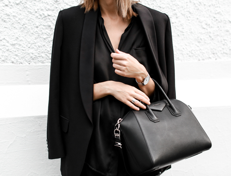 modern legacy, fashion blog, street style, blogger, all black, Bassike, resort wear, Givenchy Medium Antigona, Haider Ackermann, silver metal watch, satin lapel blazer (1 of 1)