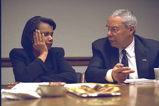 Secretary of State Colin Powell and National Security Advisor Condoleezza Rice in the President's Emergency Operations Center (PEOC)