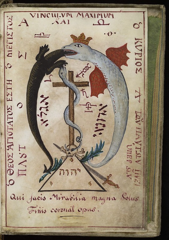 L0036628 Dragon devouring a lizard, from Cyprianus, 18th C