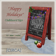 "[CIRCA] - ""Happy Holidays"" - Chalkboard Sign - Christmas Cheer"