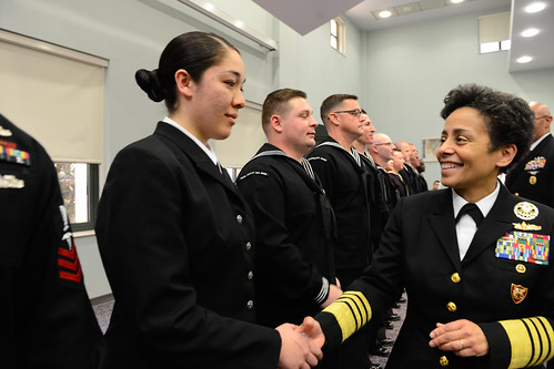 Fri, 01/27/2017 - 10:36 - 170127-N-SS492-565 NAVAL SUPPORT ACTIVITY NAPLES, Italy (Jan. 27, 2017) Commander, U.S. Naval Forces Europe-Africa, Adm. Michelle Howard, right, shakes hands with and presents a coin to Yeoman 1st Class Megan Street at the Commander, U.S. Naval Forces Europe-Africa Sailor of the Year ceremony Jan. 27, 2017.  U.S. Naval Forces Europe-Africa, headquartered in Naples, Italy, oversees joint and naval operations, often in concert with allied, joint, and interagency partners, to enable enduring relationships, and increase vigilance and resilience in Europe and Africa. (U.S. Navy photo by Chief Mass Communication Specialist Brian P. Biller/Released)