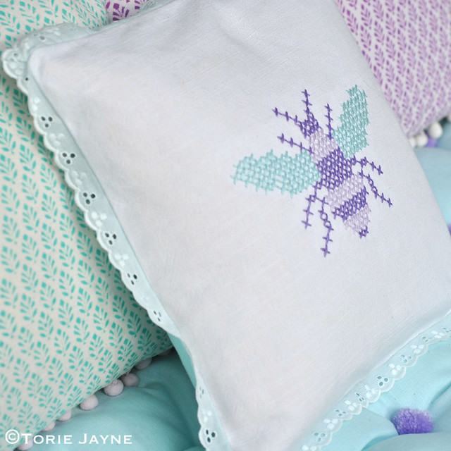 Bee cross stitch cushion 1