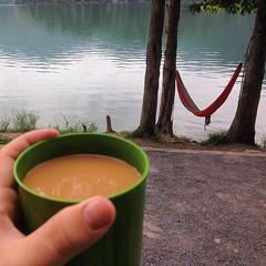 Thanks for the via @carlyjanell88 - nothing like a warm cuppa after a morning swim... #cherokeenationalforest