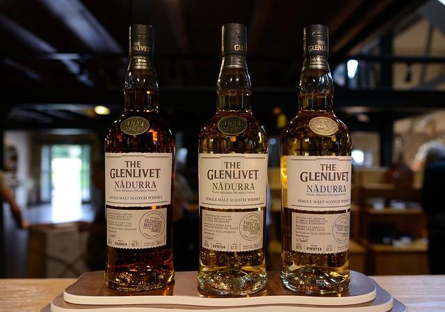 223-20160726_The Glenlivet Distillery-Banffshire-Visitor Centre-display of bottles of Glenlivet malt whiskies