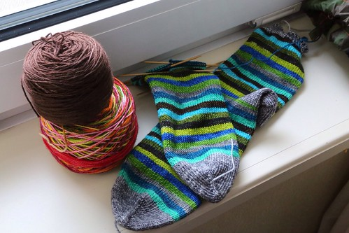 Socks knit with Yarntini sock yarn