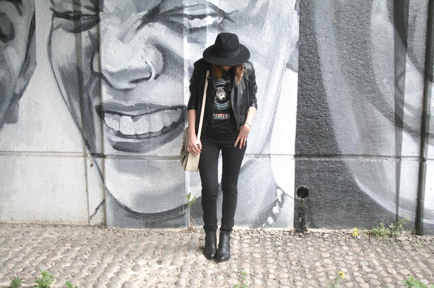 fedora, black jeans