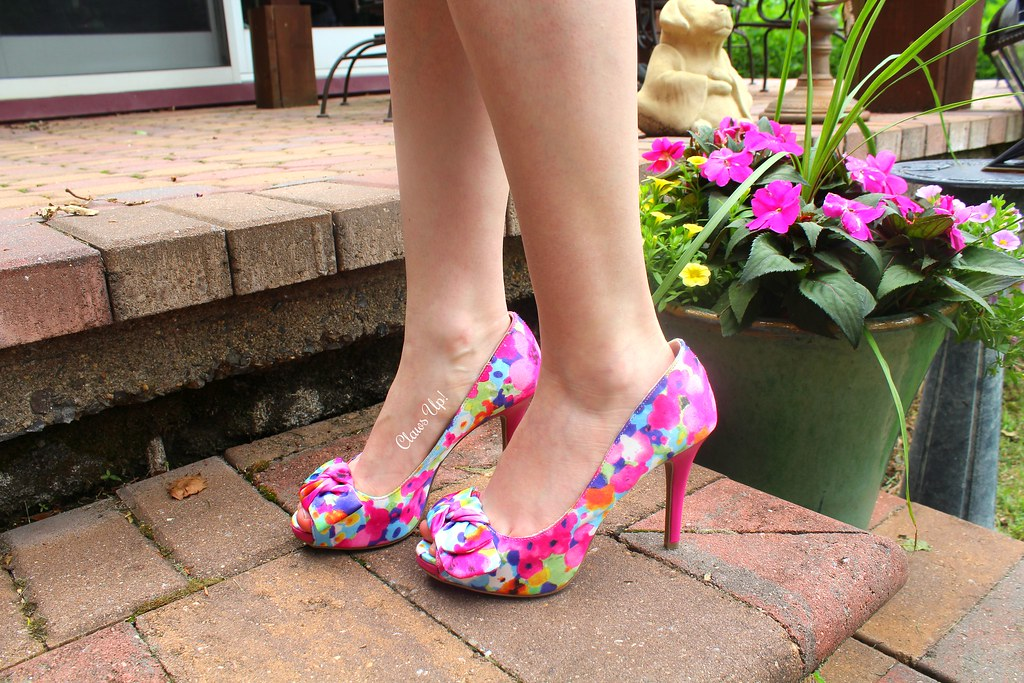 colorful floral heels