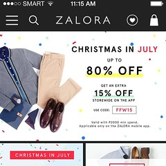 Shopping online has its perks. In Zalora, for example, their existing deals go up to 80% off. And on top of that, if you browse their app using your Smart mobile number, you'll get an additional 20%   I'm currently eyeing for the Nike Air Max rubber sho